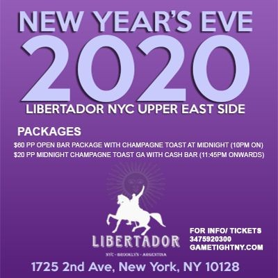 Flyer for Libertador NYC New Year's Eve NYE Party 2020