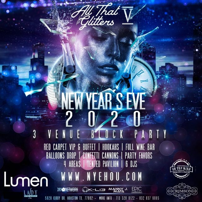 Flyer for NYE PARTY 2020 / ALL THAT GLITTERS 5 UPPER KIRBY BLOCK PARTY