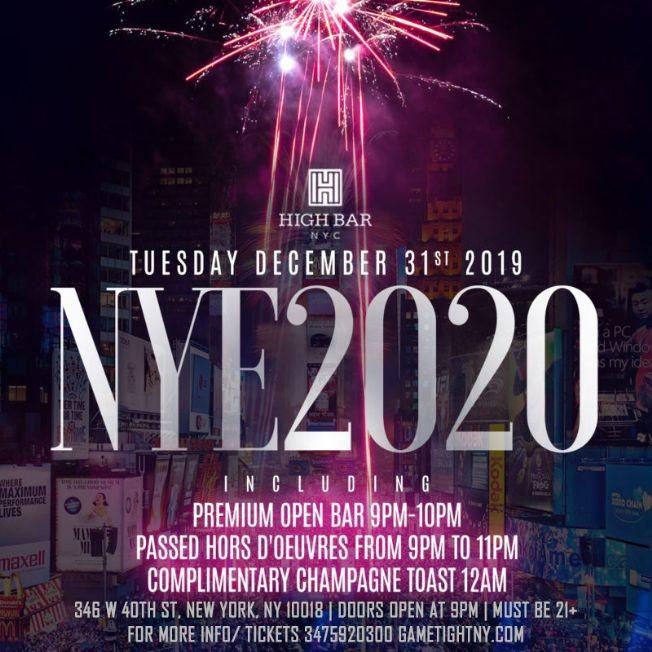 Flyer for Highbar New Years Eve NYE 2020