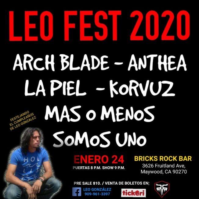 Flyer for Leo Fest 2020 Con Arch Blade,Anthea y Mas En Maywood,CA