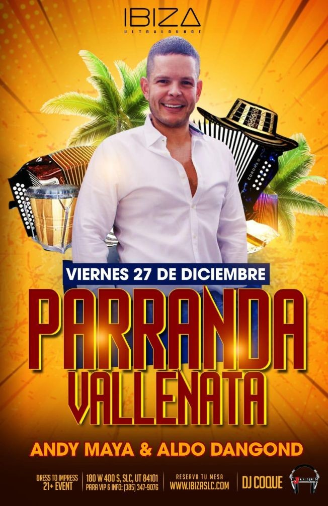 Flyer for Parranda Vallenata Con Andy Maya & Aldo Dangond En Salt Lake City,UT
