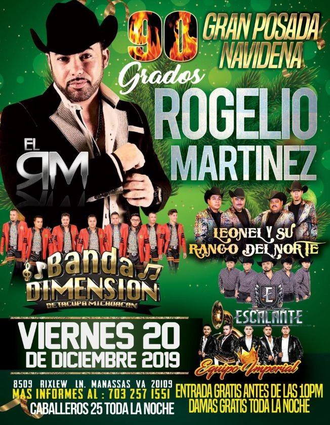 Flyer for Rogelio Martinez,Banda Dimension y Mas En Manassas,VA