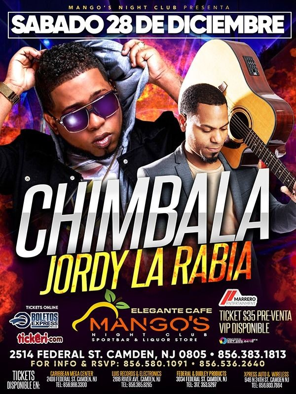 Flyer for Chimbala & Jordy La Rabia En Camden,NJ