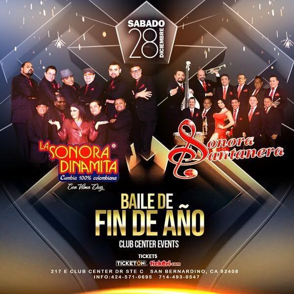 Flyer for La Sonora Dinamita y Sonora Santanera En San Bernardino,CA