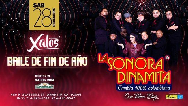 Flyer for Baile De Fin De Año Con La Sonora Dinamita En Anaheim,CA
