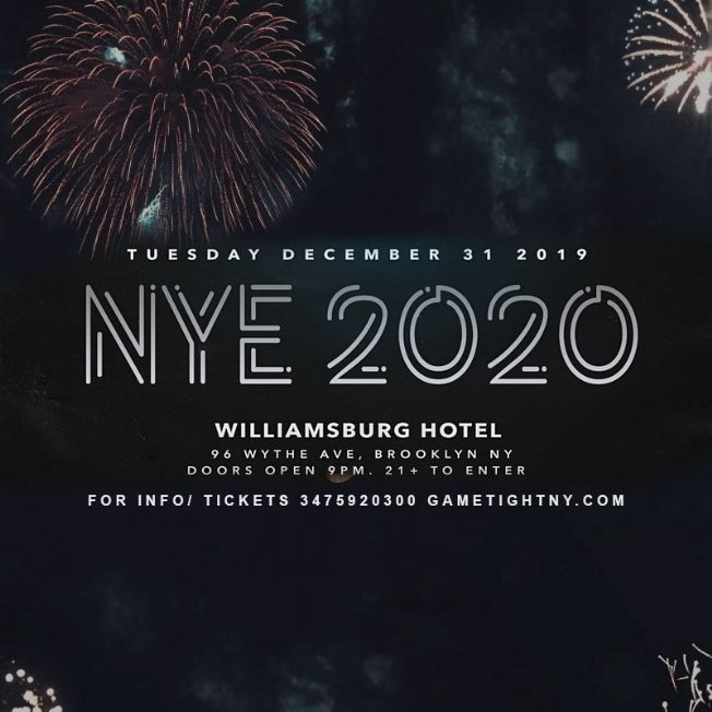 Flyer for The Williamsburg Hotel NYE New Years Eve 2020