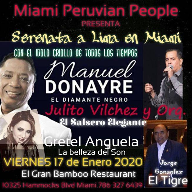Flyer for Manuel Donayre en La Serenata a Lima en Kendall