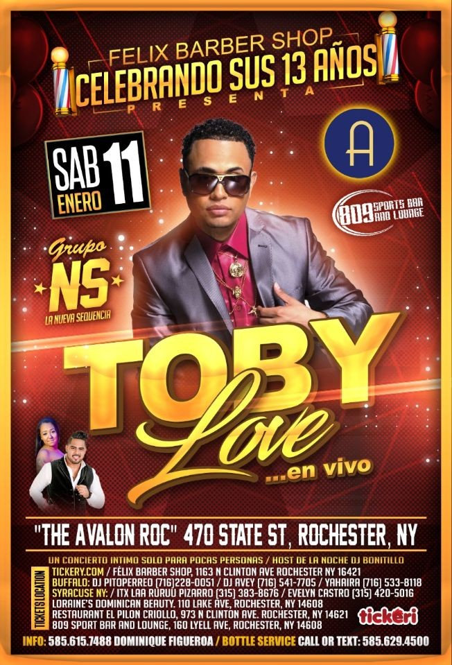 Flyer for TOBY LOVE IN ROCHESTER NY