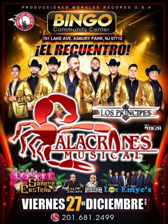 Flyer for Alacranes Musical,Los Principes y Mas En Asbury Park,NJ
