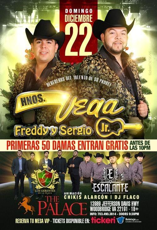 Flyer for Los Hermanos Vega y Grupo Escalante en Woodbridge,VA