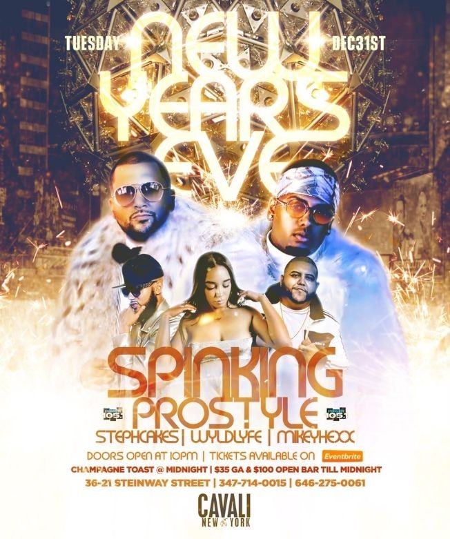 Flyer for NYE 2020 DJ Prostyle Live With DJ Spinking At Cavali
