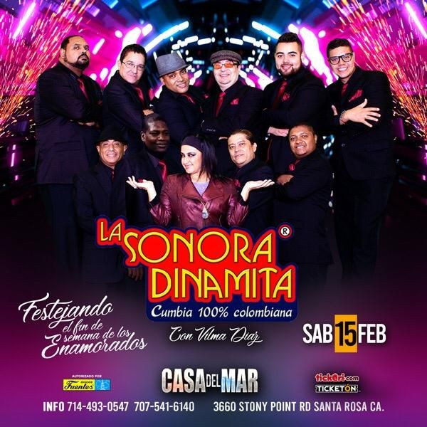 Flyer for La Sonora Dinamita Con Vilma Diaz En Santa Rosa,CA
