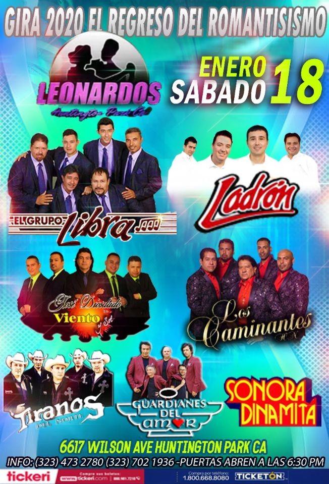 Flyer for Gira 2020 El Regreso Del Romantisismo Con Tiranos del Norte, Grupo Libra, Ladron & Más En Huntington Park,CA