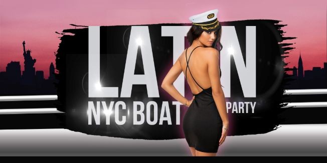 Flyer for Latin Boat Party Yacht Cruise in New York City: Saturday Night Skyline + Statue of Liberty