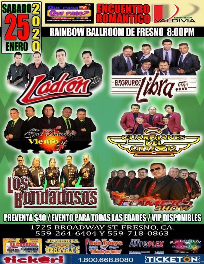 Flyer for Encuentro Romantico Con Ladron,Libra,Guardianes del Amor y Mas En Fresno,CA