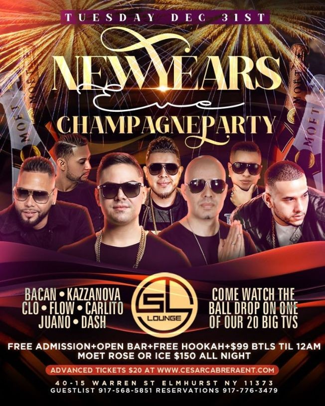 Flyer for NYE 2020 Champagne Party At SL Lounge