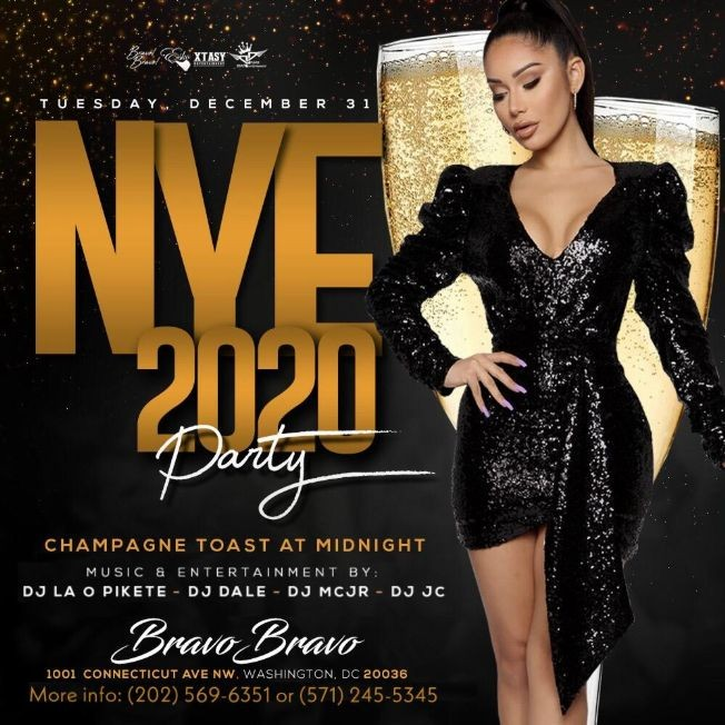 Flyer for New Year's Eve party Bravo Bravo