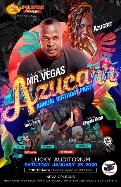 Flyer for Mr.vegas azucarr birthday party