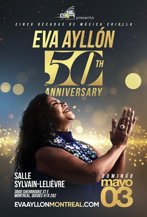 Flyer for Eva Ayllon 50 Aniversario En Montreal, Canada CANCELED