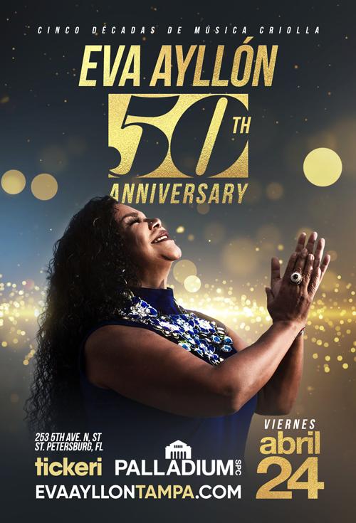 Flyer for Eva Ayllon 50 Aniversario En St. Petersburg, FL