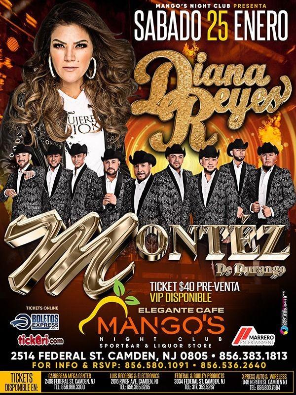 Flyer for Diana Reyes y Montez de Durango en Vivo!
