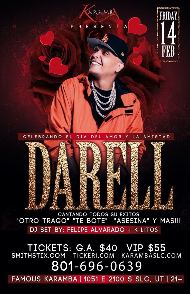 Flyer for Celebrando el Dia del Amor con Darell en Concierto!