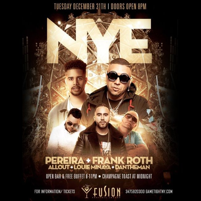 Flyer for NYE 2020 At Fusion Lounge