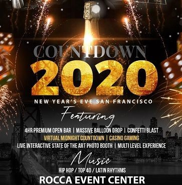Flyer for Countdown 2020 - New Year's Eve San Francisco