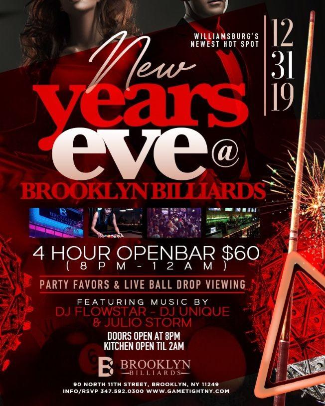 Flyer for NYE 2020 At BK Billiards