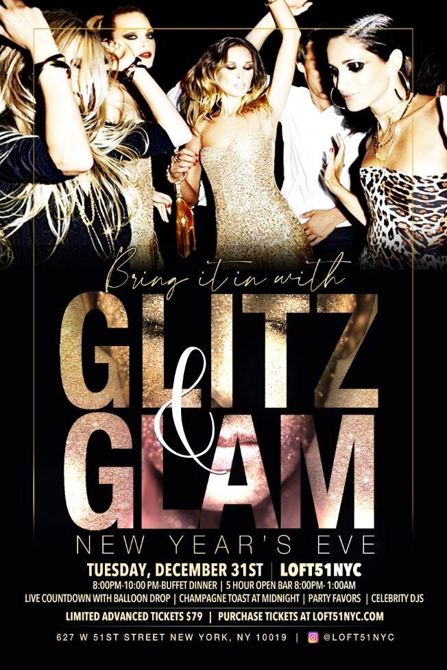 Flyer for NYE 2020 5 Hour Open Bar & Buffet At Loft 51
