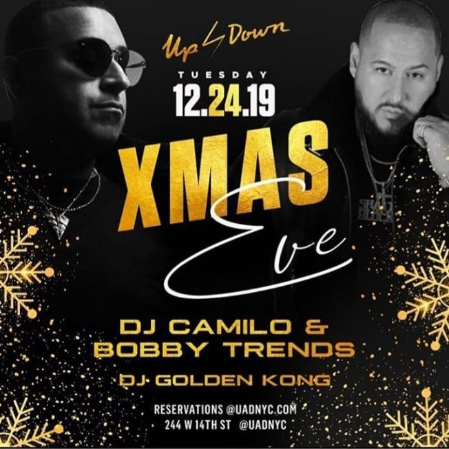 Flyer for Christmas Eve DJ Camilo Live With DJ Bobby Trends At Up & Down