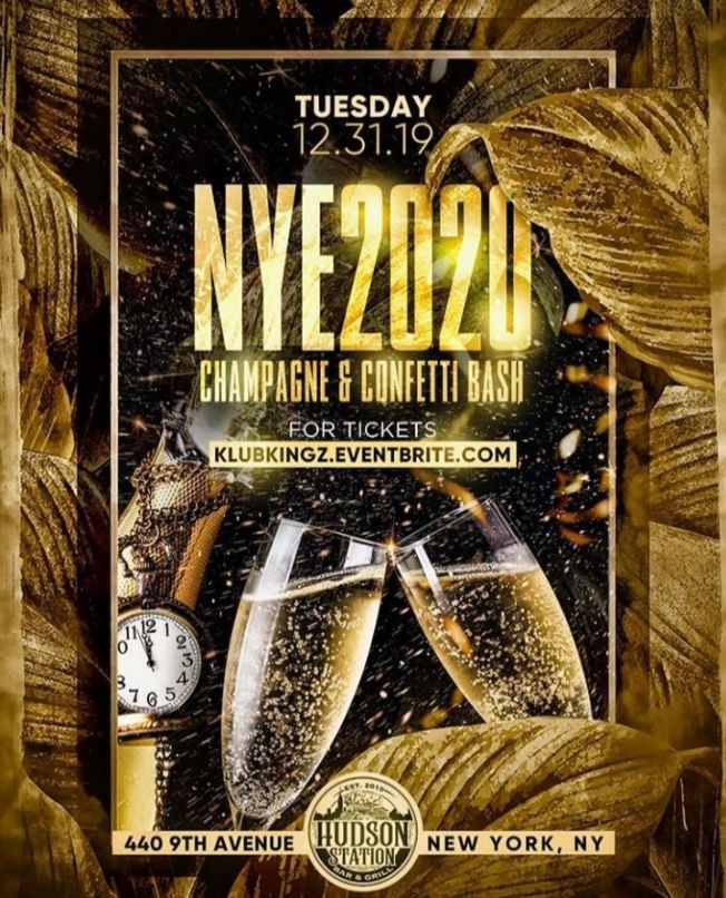 Flyer for NYE 2020 Champagne & Confetti Bash At Hudson Station