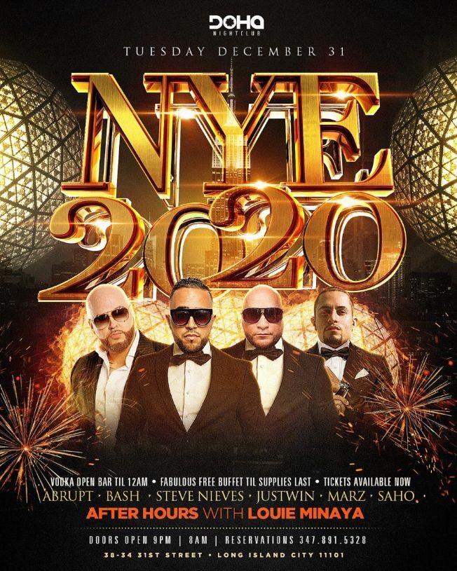 Flyer for NYE 2020 At Doha Nightclub