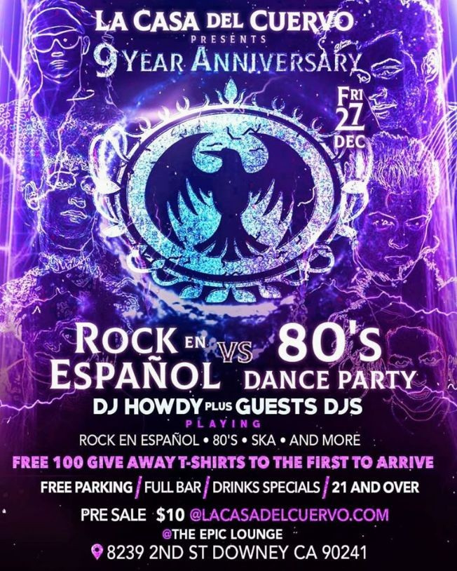 Flyer for 9 YEAR ANNIVERSARY LA CASA DEL CUERVO / FREE 100 T-SHIRTS GIVE AWAY