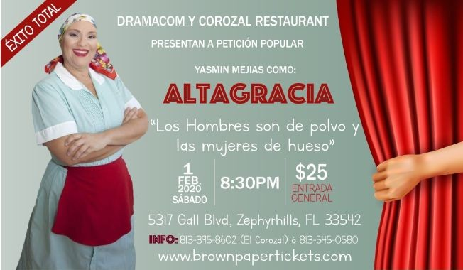 Flyer for Yasmin Mejias como Altagracia