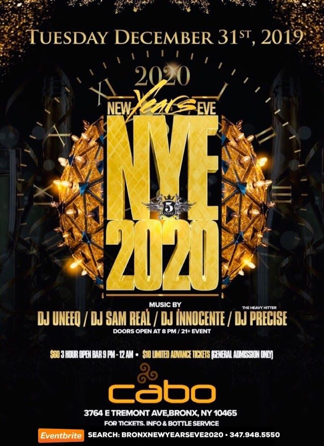 Flyer for Bronx New Years Eve 2020