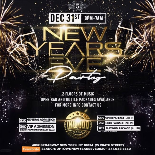 Flyer for Uptown New Years Eve 2020