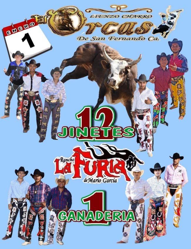 Flyer for 1 Ganaderia 12 Jinetes,Rancho La Furia De Mario Garcia  En San Fernando,CA
