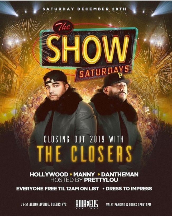 Flyer for Latin Saturdays Closing Out 2019 With The Closers At Amadeus Nightclub