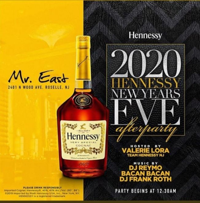 Flyer for NYE 2020 Hennessy After Party At Mister East