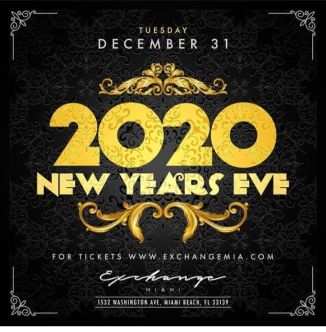 Flyer for NYE 2020 At Exchange Miami