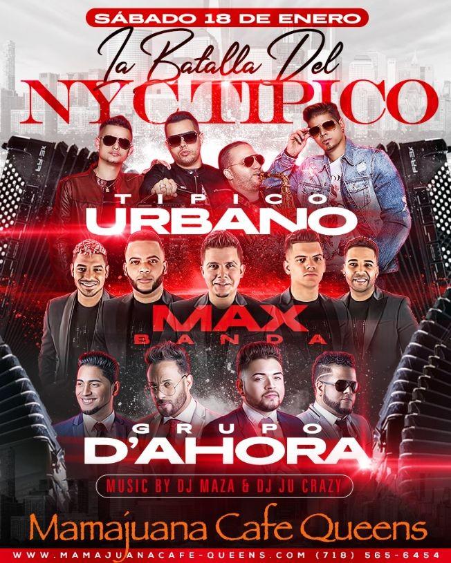 Flyer for La Batalla de NYC Tipico con Tipico Urbano, Max Banda y Grupo D'Ahora!