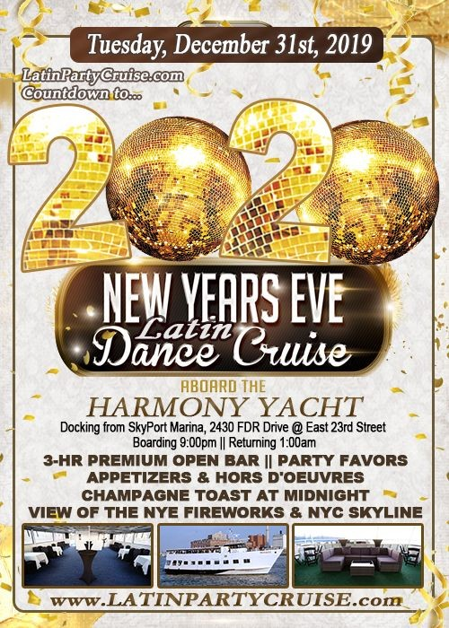 Flyer for New Year's Eve Fireworks Latin Cruise - Harmony Yacht