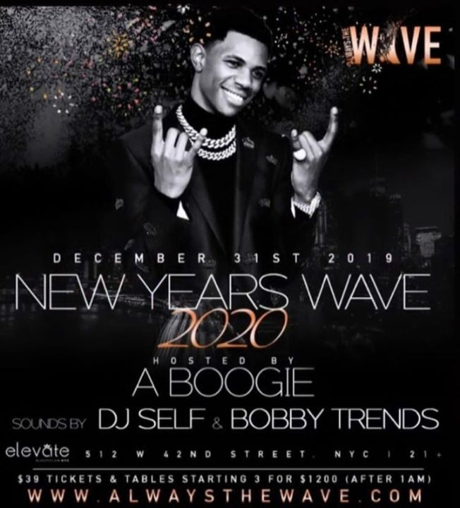 Flyer for NYE 2020 A Boogie With Da Hoodie Live With DJ Bobby Trends At Elevate