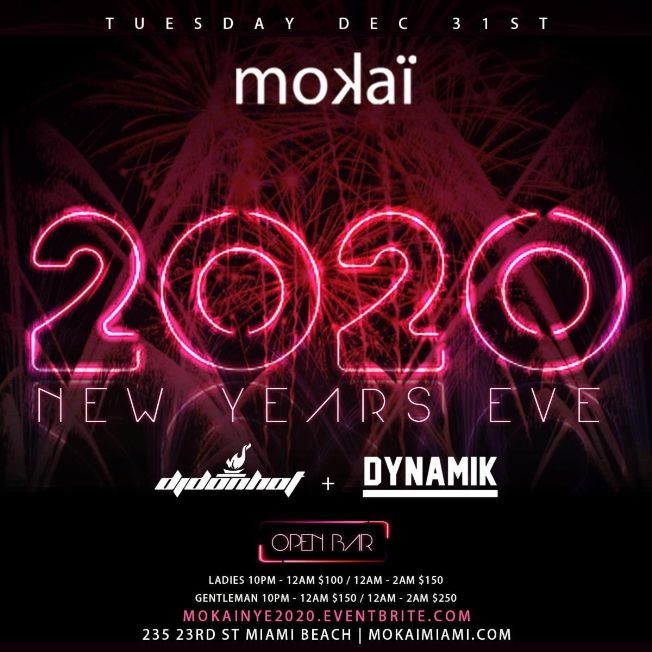 Flyer for NYE 2020 At Mokai