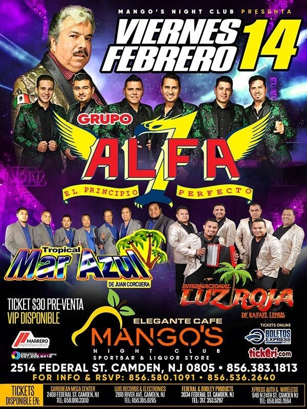 Flyer for Grupo Alfa 7, Tropical Mar Azul e Internacional Luz Roja en Concierto!