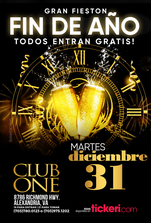 Flyer for Gran Fieston Fin de Año en Club One de Alexandria!