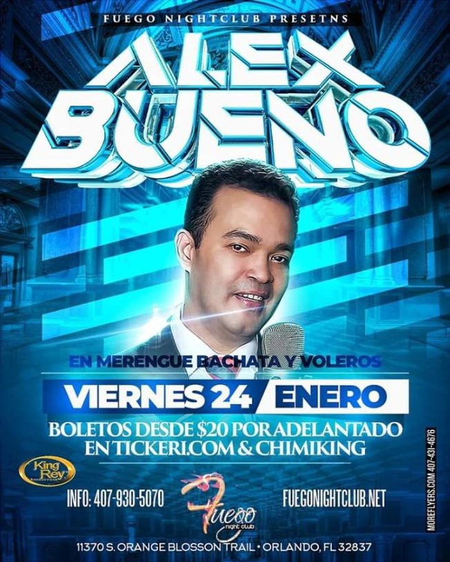 Flyer for Alex Bueno