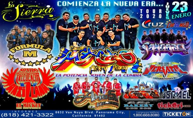 Flyer for Tour 2020 Con Grupo Macao,Sangarci,Formula M Y Mas En Panorama City,CA