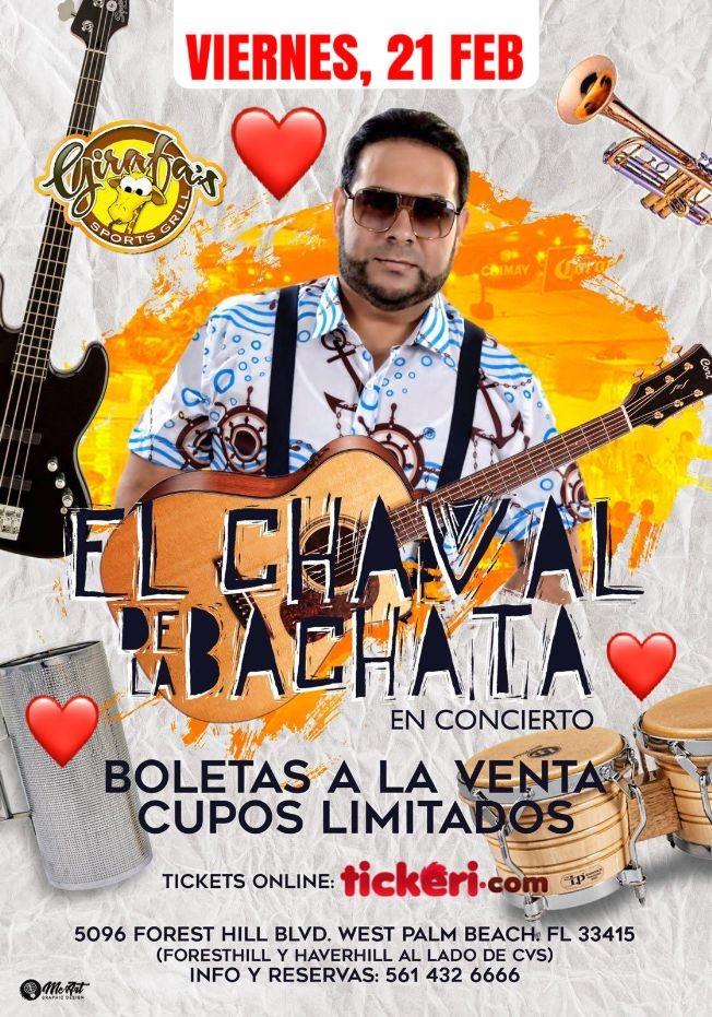 Flyer for El CHAVAL de la BACHATA en WEST PALM BEACH